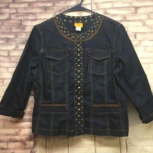 Ruby Rd Denim Studded Button Jacket Size 12